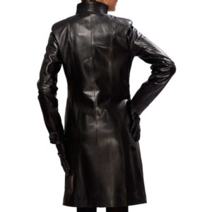 A Stand Collar Women's Leather Coat