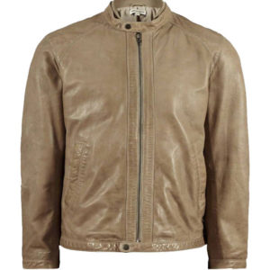 Classic Fashion Round Collar Leather Jacket