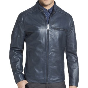 Elite Fashion Men's Blue Leather Jacket