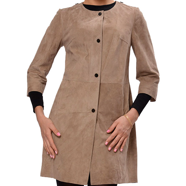 Front Buttons Suede Leather Coat For Women's - Leather Jackets USA