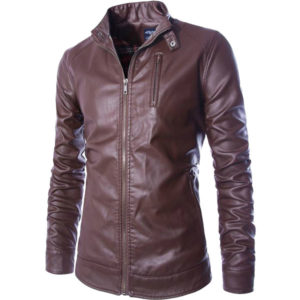 A Graceful Front Zip Closure Leather Jacket