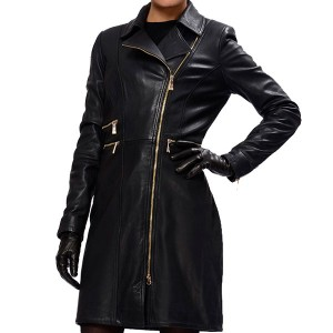 Lopsided Zipper Leather Coat For Women's