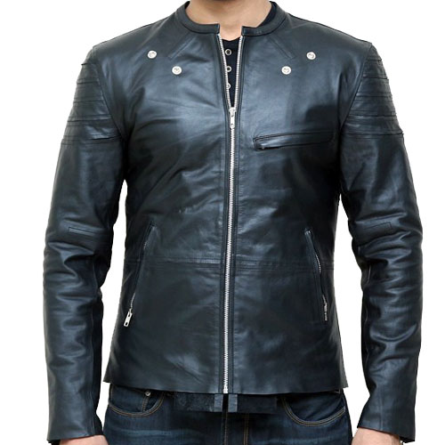 Black Collarless Thin Leather Jacket