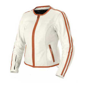 Burgundy Stips White Biker Ladies Jacket