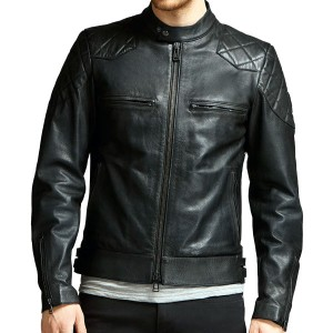 d5ab66f4222 Black Collarless Thin Leather Jacket - Leather Jackets USA