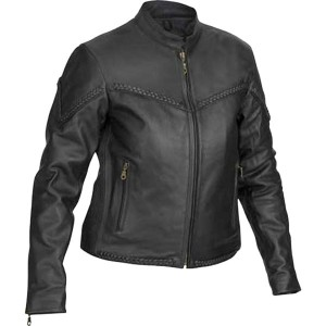 Detachable Thermo Liner Ladies Motorcycle Leather Jacket