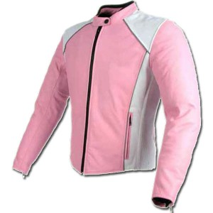 Pink White Ladies Biker Jacket