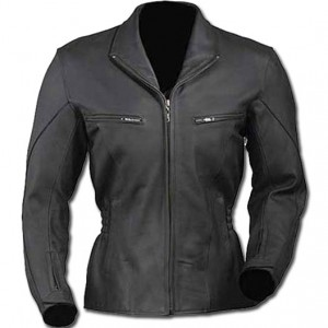 Semi-Notched Lapel Ladies Leather Jacket