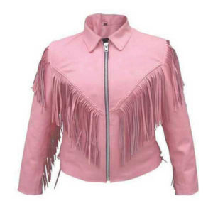 Braided and Fringed Pink leather jacket for women