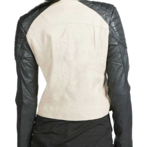 Black-Arm-White-Ladies-Bikers-Leather-Jacket