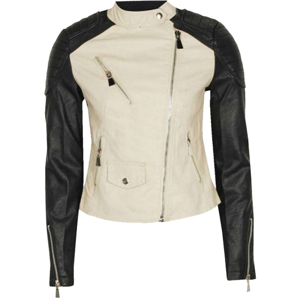 Leather Arm Parka Coat