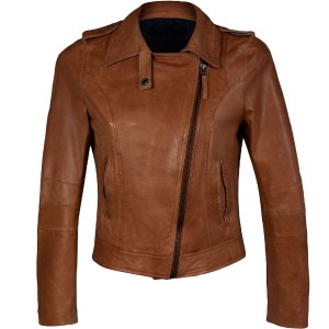 Ladies Brown Tan Leather Jacket