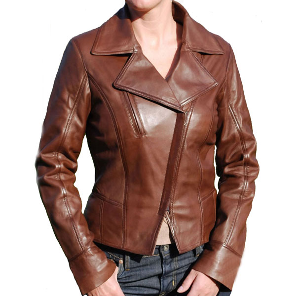 Women's Asymmetric Style Brown Leather Jacket - Leather Jackets USA