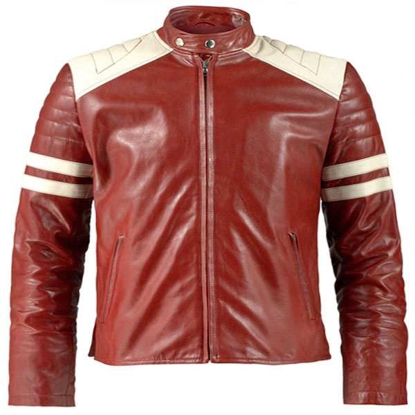 83e8800c0bf White Strips Red Motorcycle Leather Jacket - Leather Jackets USA