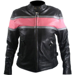 pink strip bomber leather jacket